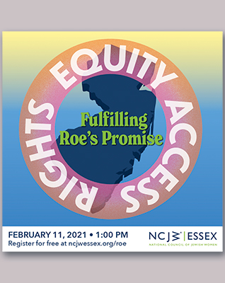 """A navy blue silhouette of the state of New Jersey, with a pink and orange semi-transparent gradient ring superimposed above. The words """"rights,"""" """"equity,"""" and """"access"""" appear on the ring, and inside of the ring it says """"fulfilling Roe's Promise."""""""