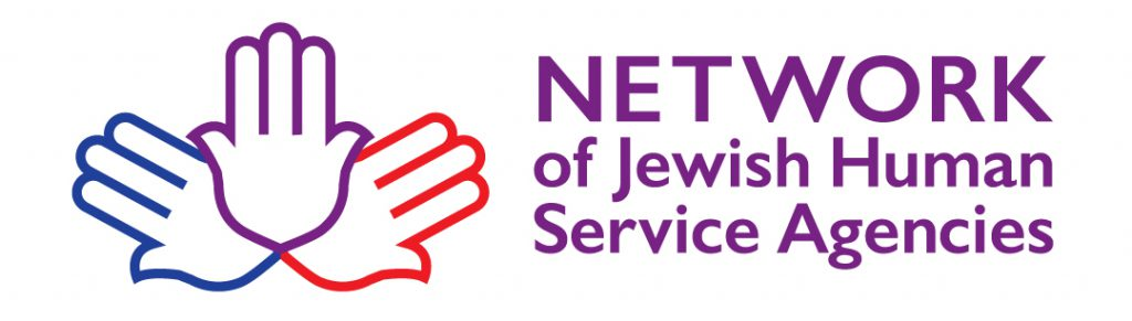 NJHSA Logo Bag | Logo is 3 Hamsa symbols arranged in a fan joined at the base of the palm. Colors are blue, purple and red. The word NETWORK is all capital sans-serif purple letters to the right of the Hamsas. Beneath it says of Jeiwsh Human Service Agencies.