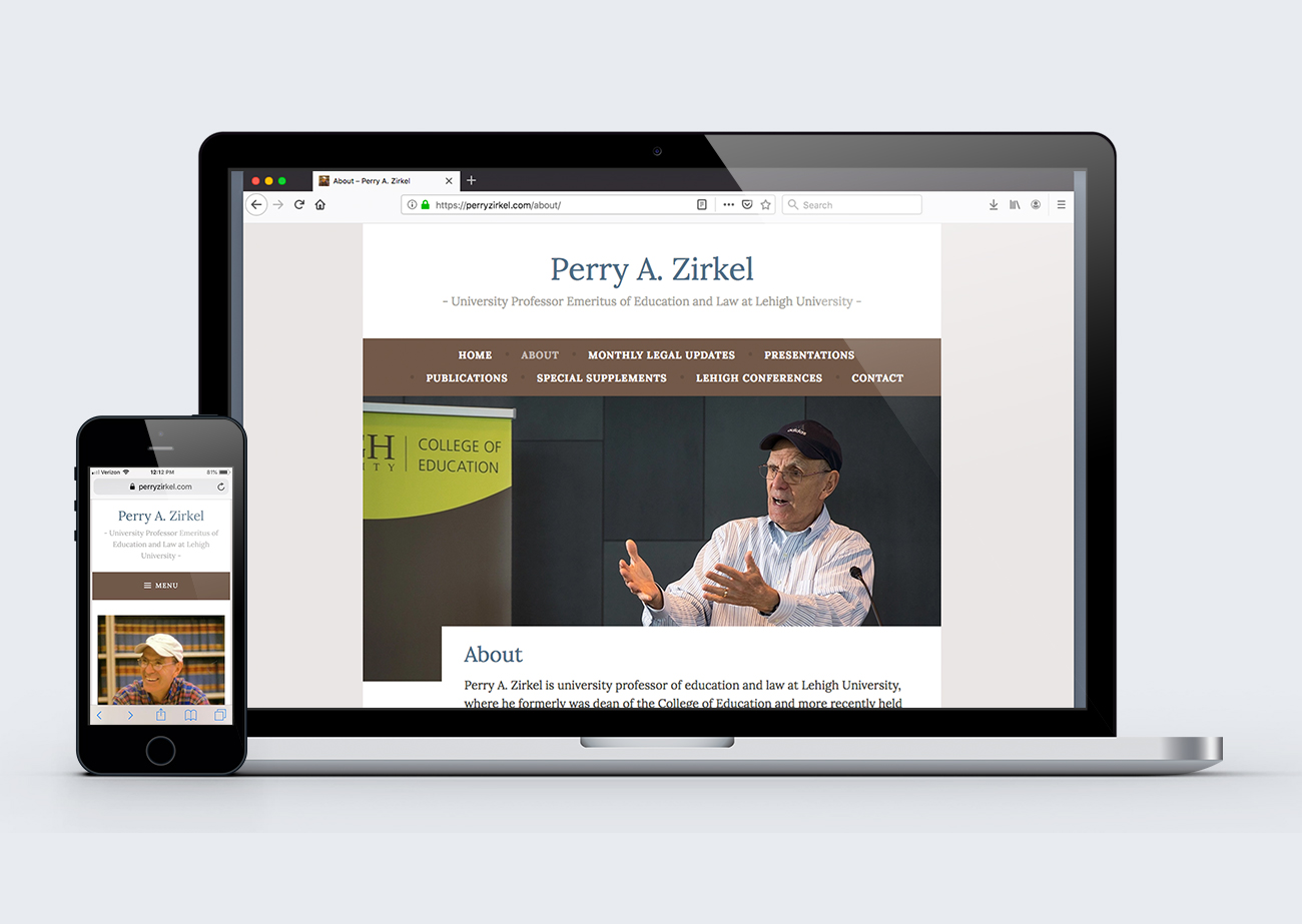 Website shown on phone and laptop screen. Title is Perry A. Zirkel, in serif font on white and taupe background. Both views feature a photo of Zirkel.