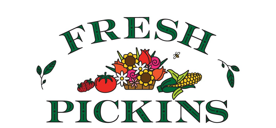 "Fresh Pickins Logo | The words ""fresh"" and ""pickins"" are shown in all capital letters, with the word Fresh arched over the word Pickins, which is straight. The letters are Kelly green with black outlines and decorative elements. The words are connected with a leaf sprig on either side. The logo features an illustration of strawberries, a tomato, a sunflower, daisy and tulip basket, and a corn cob with a bee illustrated overhead."