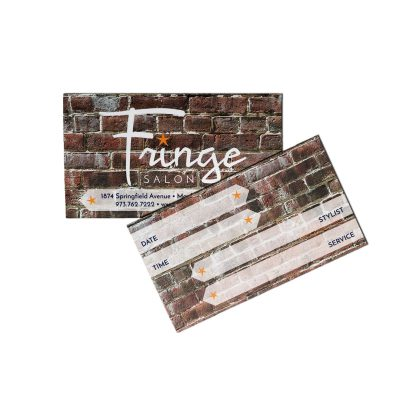 Fringe Salon Appointment Card | Appointment card background is a brick pattern with salon logo in white, contact info on semi-opaque white banner. Back of appointment card contains write-in fields for date, time, stylist and service.