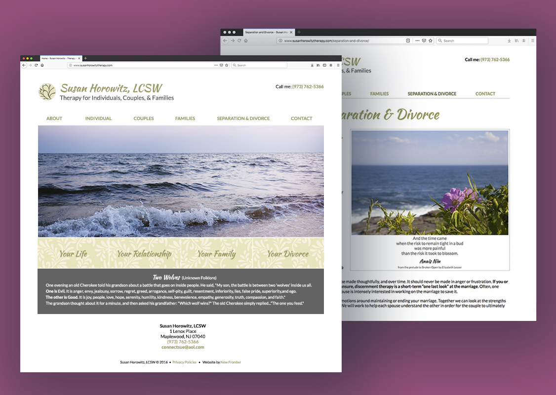 Homepage and inner page of Therapist Sue Horowitz's website. Homepage features an image of waves at sunset and botanically-themed buttons. Inner page has a different oceanside image with an inspirational quote.