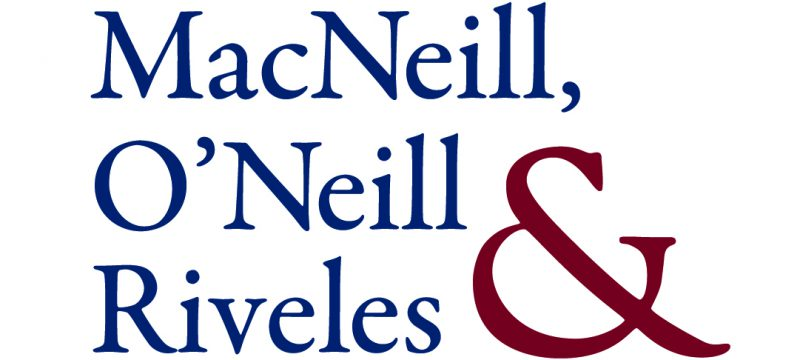 Law Firm Logo | Each word of the law firm title is flush left and on its own line in large blue serif type, from top, MacNeill, O'Neill, Riveles. A large red ampersand is incorporated next to the words on the right.
