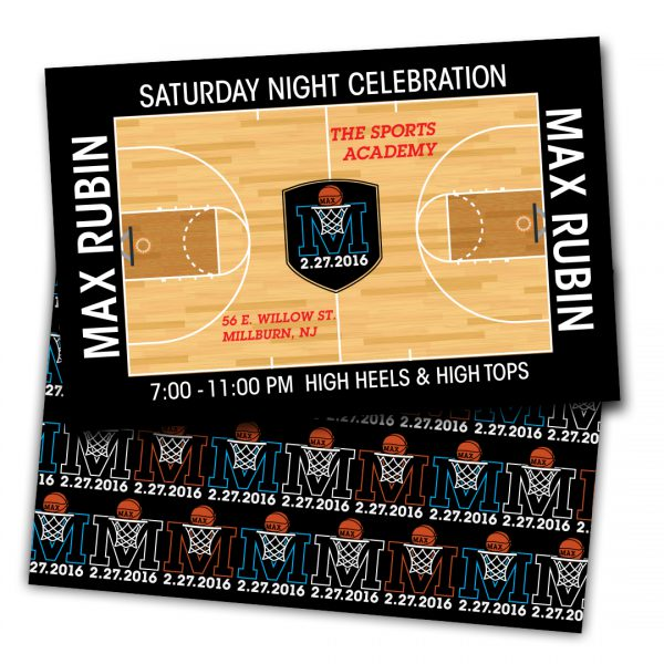 Front and back of a customized Bar Mitzvah reception invitation. Front features a basketball court illustration, party logo, and details. Back includes logo repeated in an overall pattern, in alternating colors of orange, white, and blue.