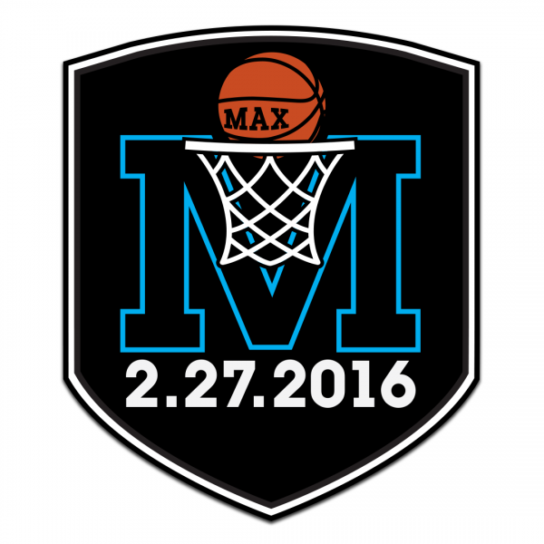 A logo consisting of a black shield shape surrounding a bright blue capital letter M. A white basketball net overlaps the center of the M, with an orange basketball that says Max halfway into the hoop. Below the M is the date 2.27.2016.