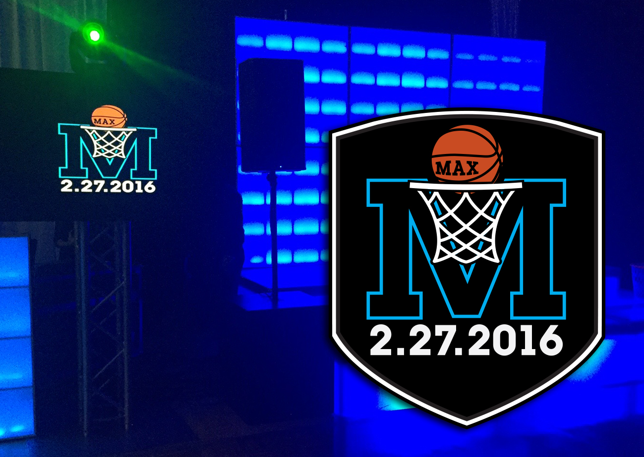 A basketball bar mitzvah logo superimposed over a blue-lighted stage background with the same logo projected on a screen.