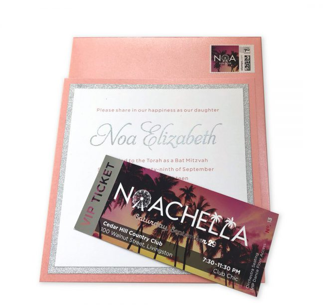Formal + Custom Bat Mitzvah Invitation | Bat mitzvah invitation suite - formal blush, white and silver service invitation plus custom VIP ticket marked Noachella with sunset picture and silver highlights.