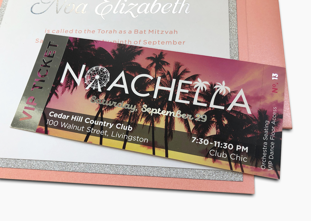 Noachella Custom Invitation | Invitation that looks like a VIP ticket, with Noachella logo against palm-trees-at-sunset photo with silver foil highlights