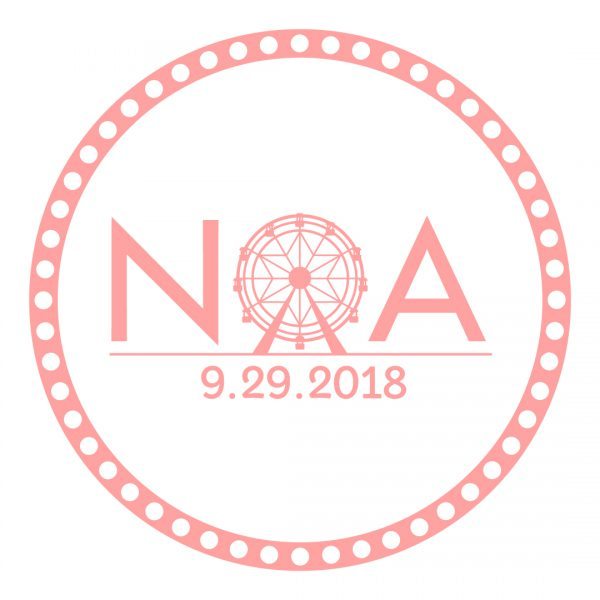 Noachella Bat Mitzvah Logo | Circular logo that is peachy pink with white print. Print says NOA - letter O is a ferris wheel flanked by N and A. Date 9.29.2018 is beneath NOA.