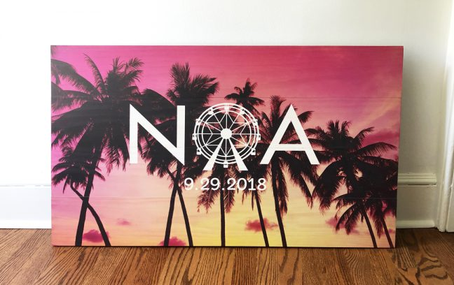 Bat Mitzvah Sign-In Board | Rectangular board with logo and palm tree photo printed on wood.