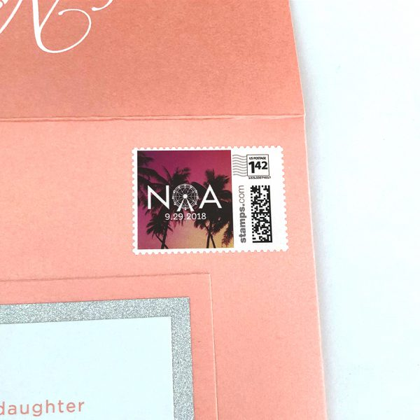 Detail of custom stamp with logo on bat mitzvah invitation.