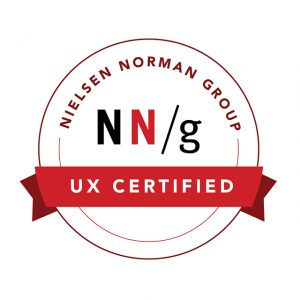 Line art of a white circular seal that says NN/g. Red ribbon draped midway across the circle says UX certified.