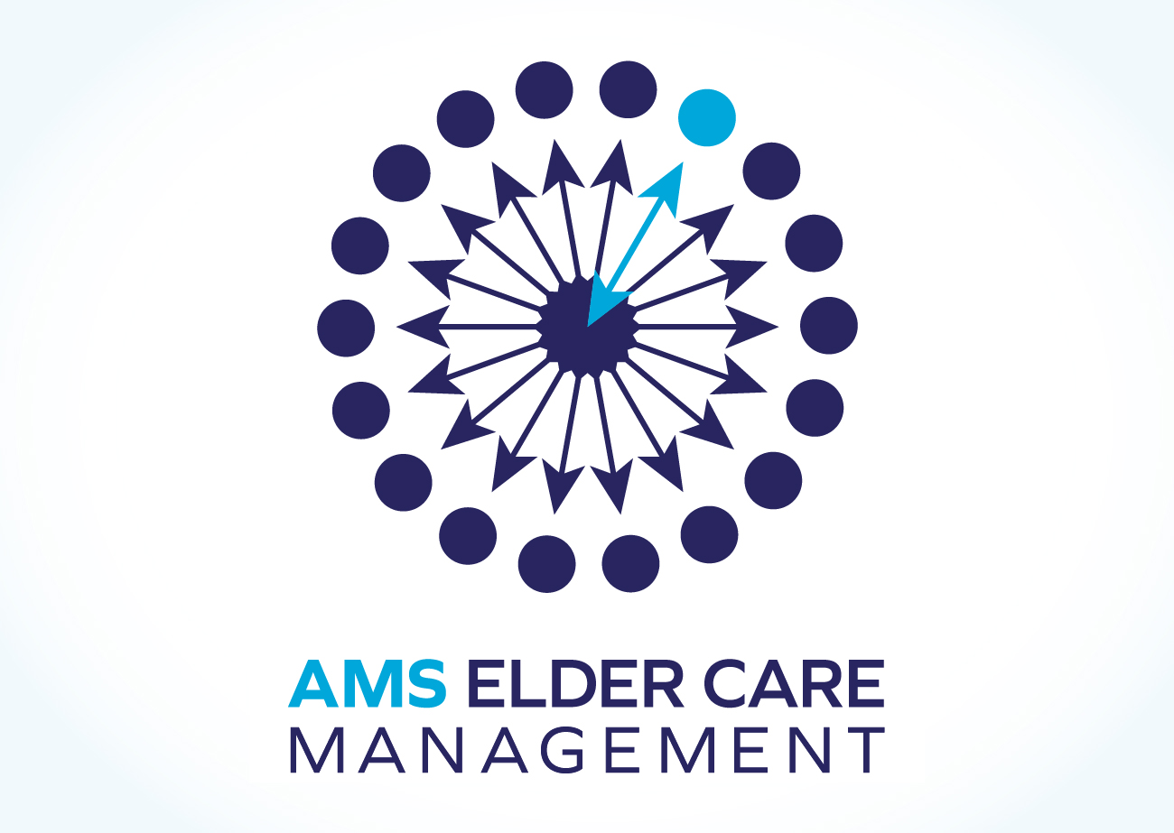Glyph is a radial pattern of arrows pointing to an outer circle of dots. One arrow in the upper right and one dot are turquise, the rest are navy blue. The words beneath the symbol say AMS Elder Care Managment in all capital letters.
