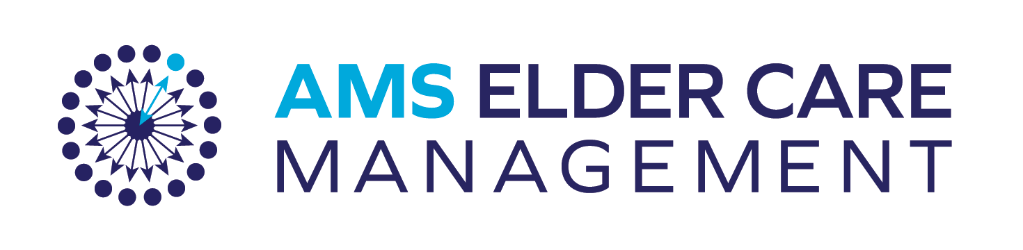 Glyph is a radial pattern of arrows pointing to an outer circle of dots. One arrow in the upper right and one dot are turquise, the rest are navy blue. The words to the right say AMS Elder Care Managment in all capital letters.