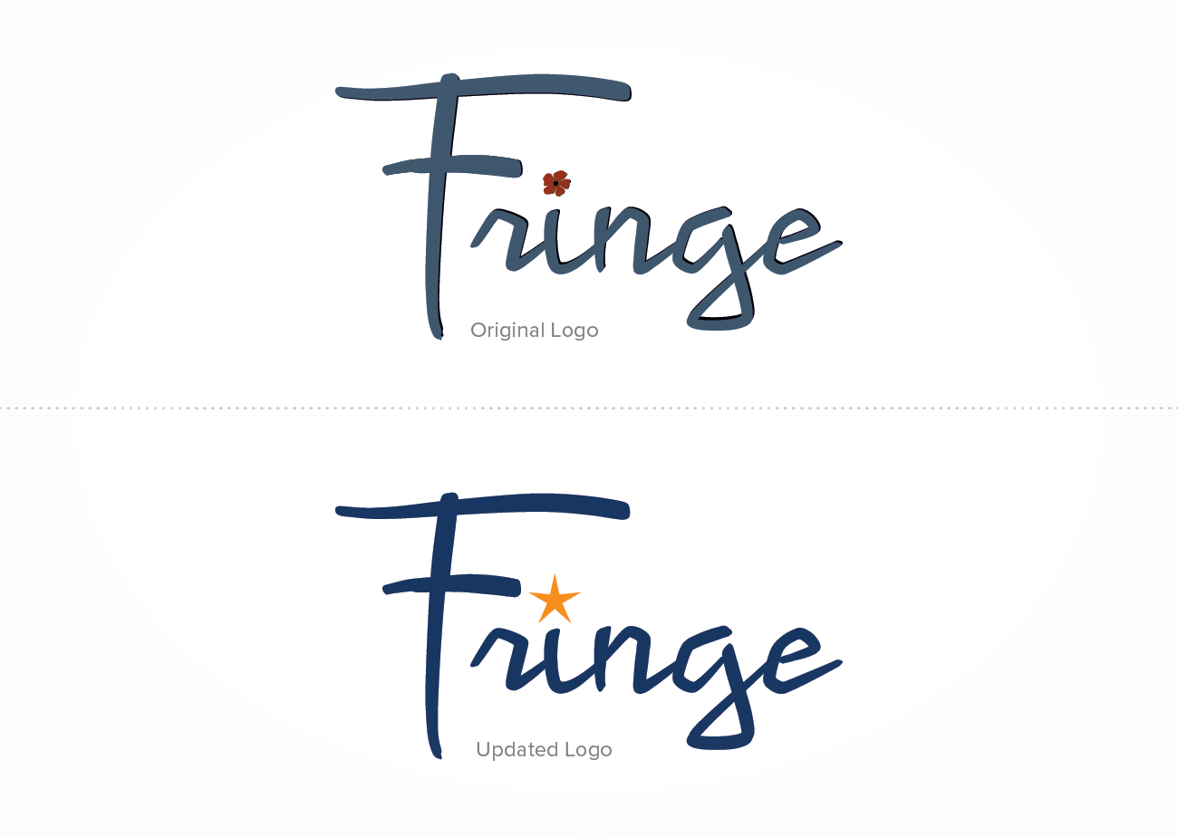 Fringe Salon Logo, before and after | Top of image shows original logo, in colonial blue with black dropshadow and orange-red flower dotting the i. Bottom image shows updated logo, with navy blue letters and i dotted with yellow-orange star.