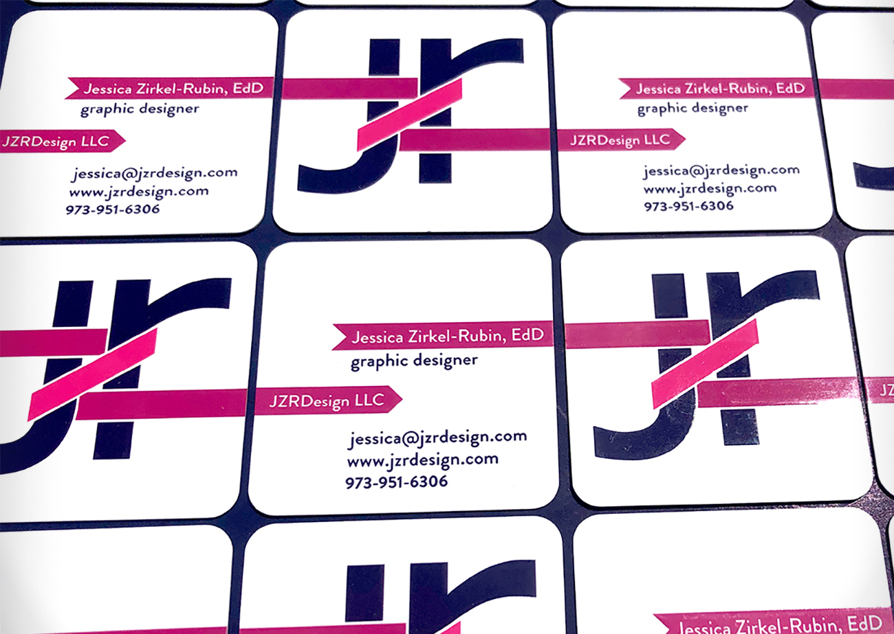 JZRDesign Business Card | Several square business cards laid out in a grid pattern, alternating fronts and backs.