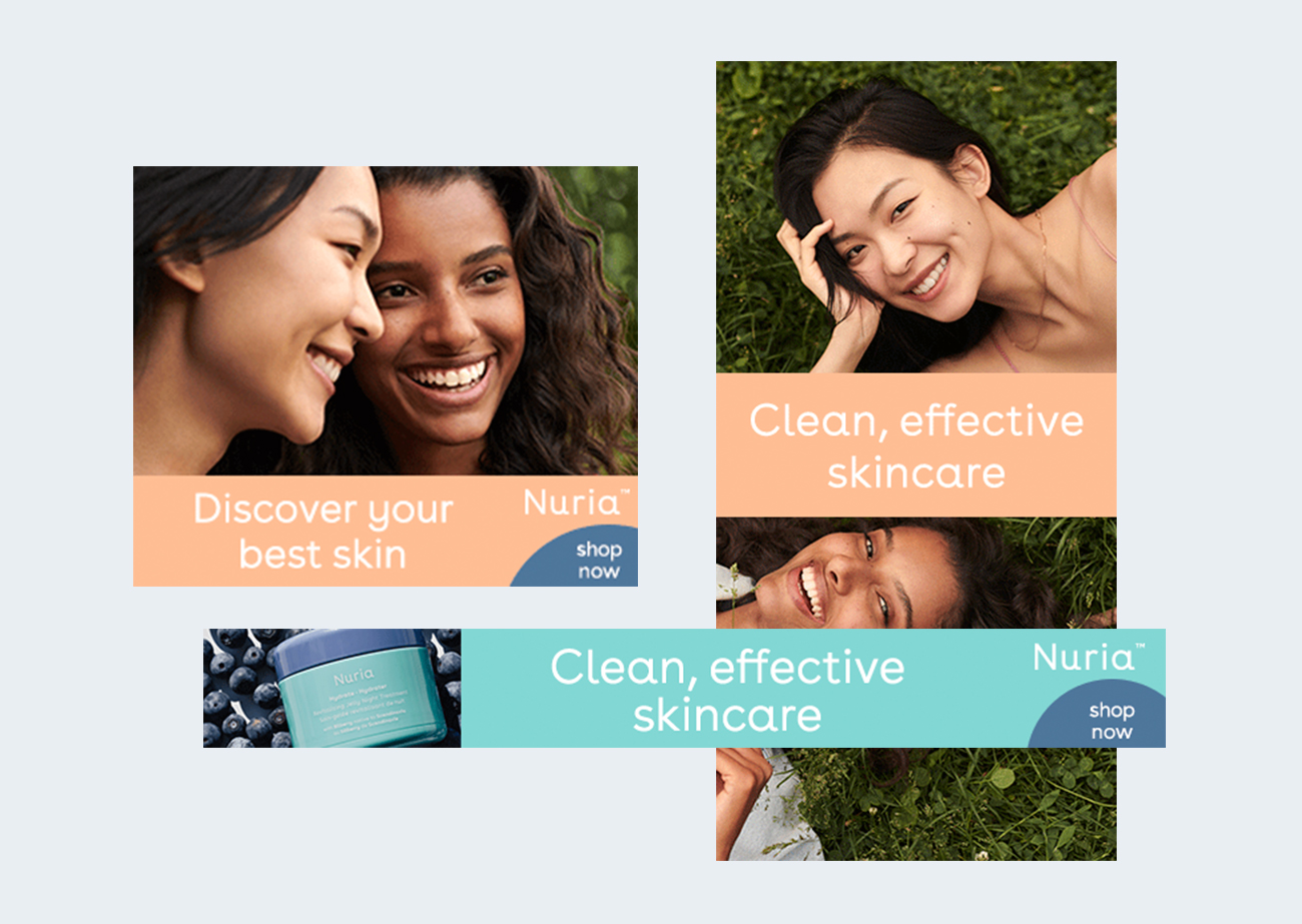 Banner ads of three different sizes - square, vertical rectangle and horizontal rectangle - showing photos of models and skincare products.