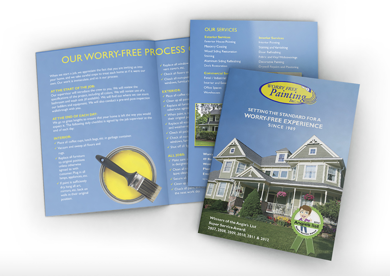 Worry-Free Painting Brochure | Mockup of a double-sided brochure, with both sides spread out and overlapping. Brochure is blue with house painting photography and text.