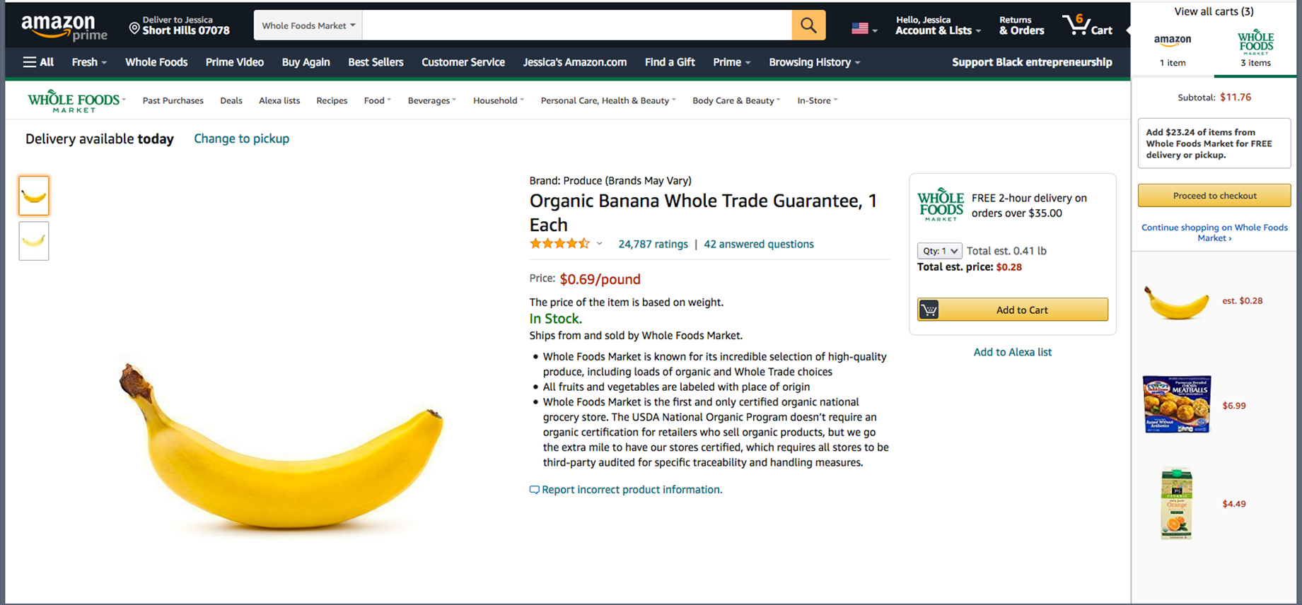 Screen shot of Amazon Whole Foods web page that sells single bananas. Includes cart listing for a single banana in right column.