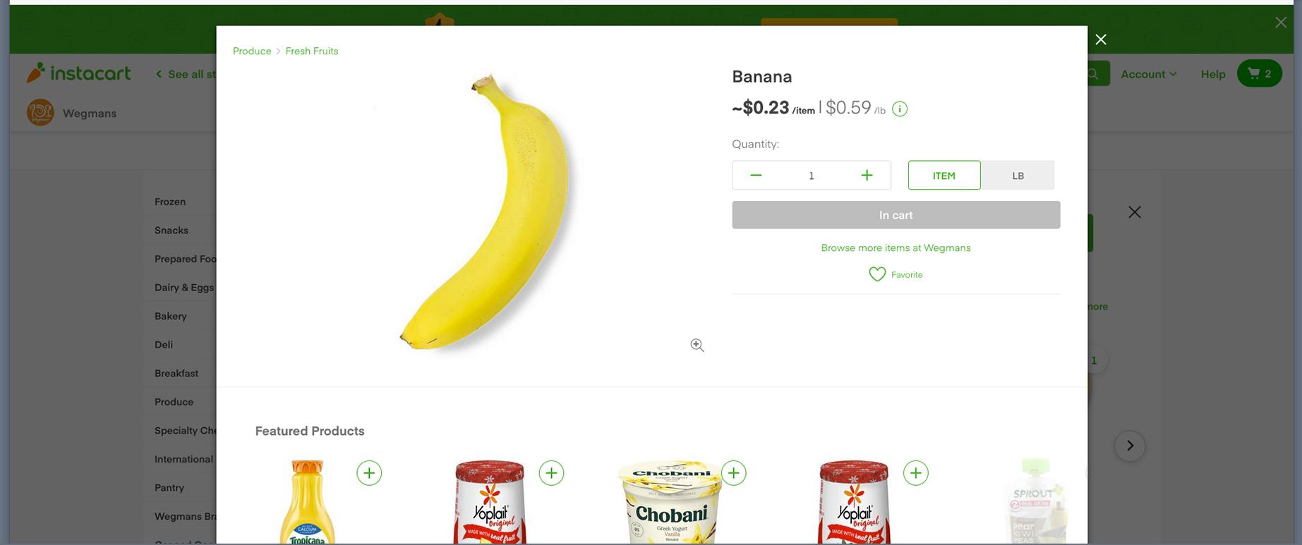 Screen shot of banana screen on Instacart web page for Wegmans.