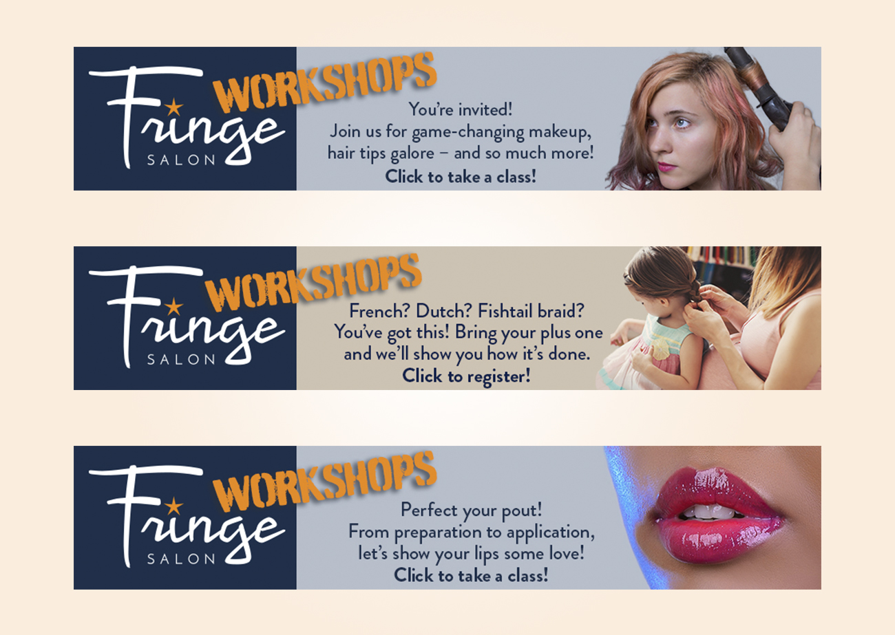 Three ads, aligned in one column. Each ad is a horizontal rectangle that says Fringe Workshops on left, then copy about the workshop, and then an image for each.