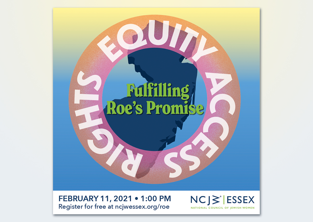 "A navy blue silhouette of the state of New Jersey, with a pink and orange semi-transparent gradient ring superimposed above. The words ""rights,"" ""equity,"" and ""access"" appear on the ring, and inside of the ring it says ""fulfilling Roe's Promise."""